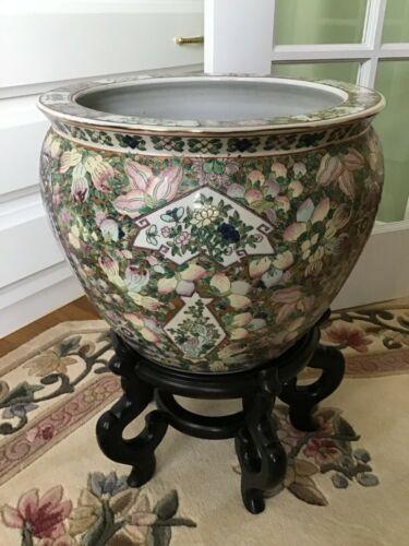 Chinese Porcelain Famille Rose Fish Bowl Planter Jardiniere LARGE