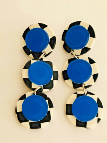 Vintage Black White Checked with Blue LUCITE Round 3 Disc Dangle Earrings