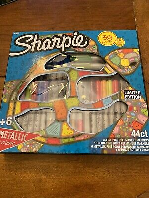 44 Ct Sharpie Limited Edition Markers 16 Fine Point 16 Ultra Fine 6 Metallic New