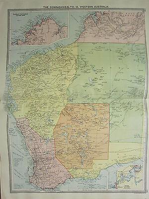 1920 LARGE MAP ~ WESTERN AUSTRALIA ~ PERTH ENVIRONS ASHBURTON NANNI