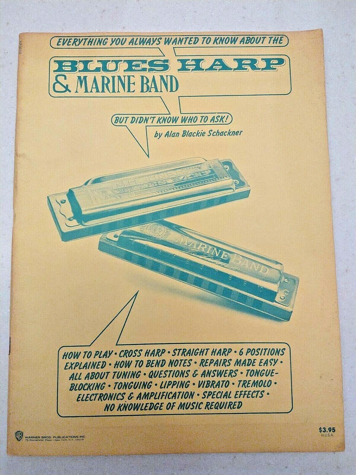 BLUES HARP MARINE BAND Harmonica - How To Play - Alan Blackie Schackner  - $8.95