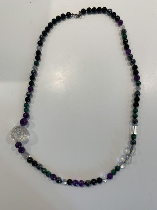 "KYLO KAI-YIN LO Amethyst Quarts Malachite Sterling Silver 30"" Necklace"