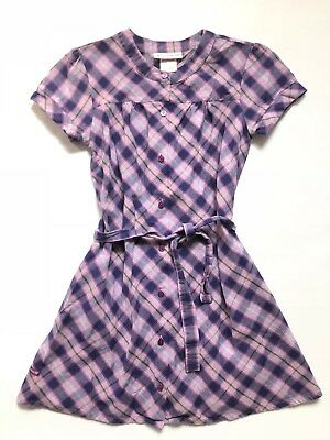 American Girl Girls Dress Sz 12 Pretty & Plaid Purple Pink Dress Belted