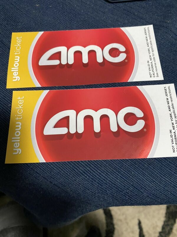 2 AMC Yellow Movie Passes-Reg. $34 selling $16-codes Texted For Online & App