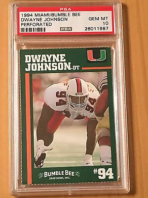 1994 Dwayne  The Rock  Johnson Psa 10 Miami  Bumblebee Rc Bumble Bee Tuna Rookie