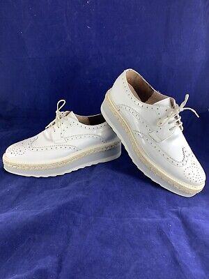$395 Baldinini Trend EU 40 US 10 Platform Lace Up Shoes In White Women's