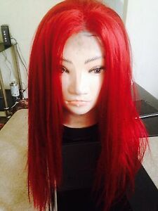 Front Lace Wig, Human Hair Blend, Red, Long