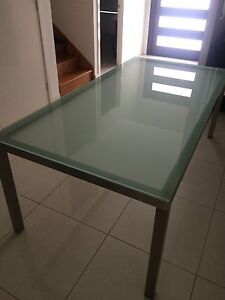 Glass brushed stainless rectangle dining table - excellent condition Wavell Heights Brisbane North East Preview