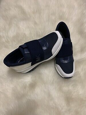 Michael Kors Women's Felix Fashion Sneakers US Size 6 Navy Silver & White