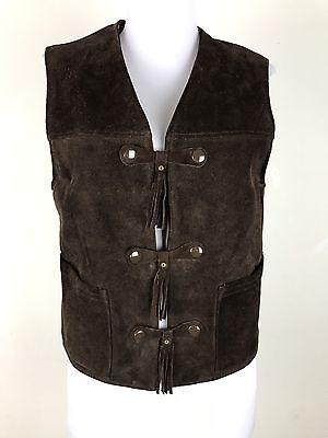 Vintage 1970s Chips Off The Old Block Suede Leather Vest Fringe Front Pockets S