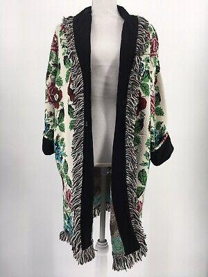New Anthropologie Aldomartins Sweater Floral Intarsia Cardigan Fringe Size Small - Floral Intarsia Cardigan
