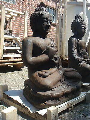Buddha Steinfigur Lavastein Statue Bali schwer massiv 60 cm XL Garten frostfest
