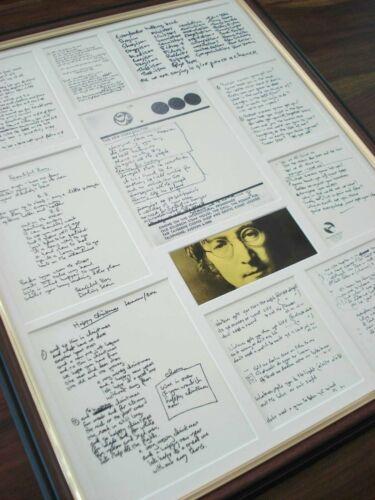 JOHN LENNON ORIGINAL HANDWRITTEN FRAMED LYRICS DISPLAY MONTAGE
