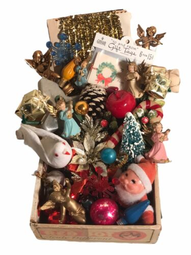 Vintage Christmas Junk Drawer Lot Collage Crafting Supplies 40 Assorted Pieces!