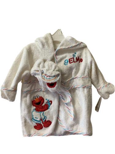 Sesame Street Elmo's World Infant White Terry Cloth Bathrobe and Booties set NWT