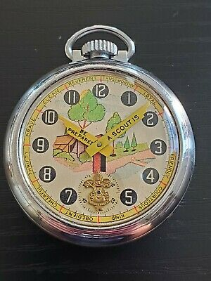 1930s Ingersoll Boy Scout Character Pocket Watch Parts Repair Good Staff