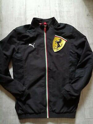 PUMA Men's FERRARI Jacket SHELL TOP Size SMALL Zip Up BLACK Pristine