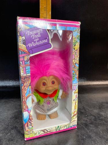 ACE Novelty Vintage Treasure Trolls Doll Wishstone Pink Hair Dress 90s Toy Troll