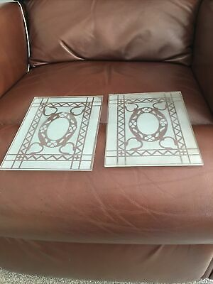 "Victorian/Vintage Etched Glass Door Panels 8""x6"" X 2"