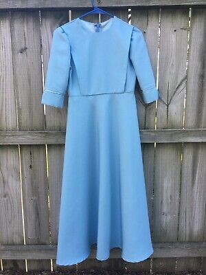 """Light Blue Dress For Girl (Homemade Modest Mennonite Cape Dress Junior Girl 33"""" Bust / 26"""" Waist Light)"""