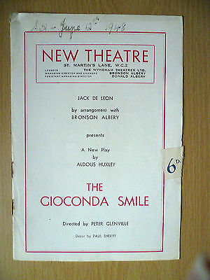 .1948 New Theatre Programme: THE GIOCONDA SMILE by Peter Glenville/ Paul Sheriff
