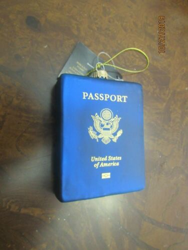 Robert Stanley,Glass Christmas ornament, US Passport.