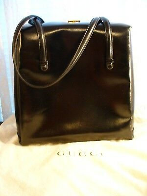 AUTHENTIC GUCCI RARE VINTAGE LOOK BLACK LEATHER CLASSIC HAND BAG