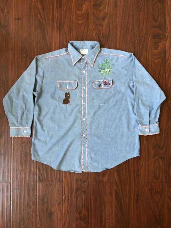 Vtg 70s Montgomery Ward Embroidered Chambray Button Shirt Selvedge Size XL/XXL