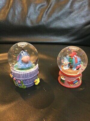 "2 Disney Eeyore mini 2.5"" snowglobes Collectors, Vintage"