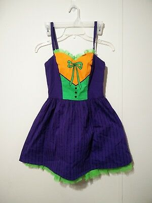 Joker dress dc comics cosplay s hot topic purple green halloween costume nwt](Halloween Costume Green Dress)