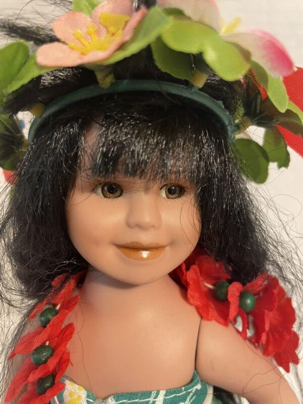 Vintage Milestone Mahina Moon Genuine Porcelain Hula Doll with Authenticity Tags