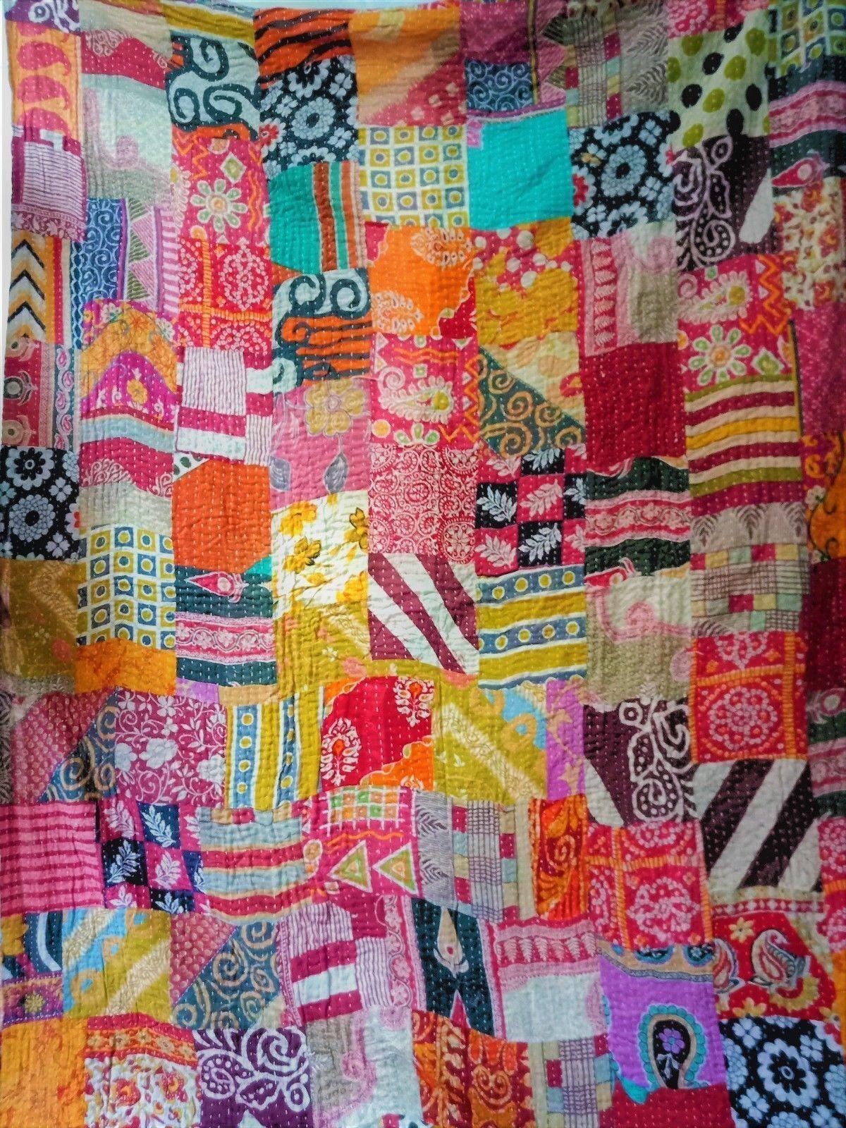 Vintage Patchwork Kantha Quilt Blanket Indian Quilts Bedspre