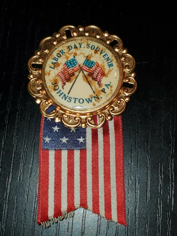 1890s 1900 Johnstown Pa Labor Day Badge Medal by Whitehead & Hoag