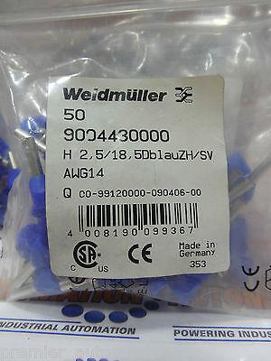 9004430000 Wire End Ferrule 2.5 Mm 10 Mm Colour Code Din Blue 50pkg