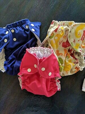 Lot Of 3 Apple Cheeks Cloth Diaper Covers + bamboo inserts
