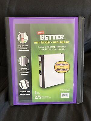 Staples Better Mini 1-inch D 3-ring View Binder Purple 20946