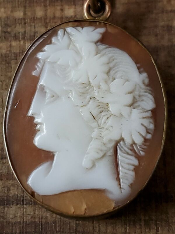 Antique Sardonix Shell Carved Cameo Pendant