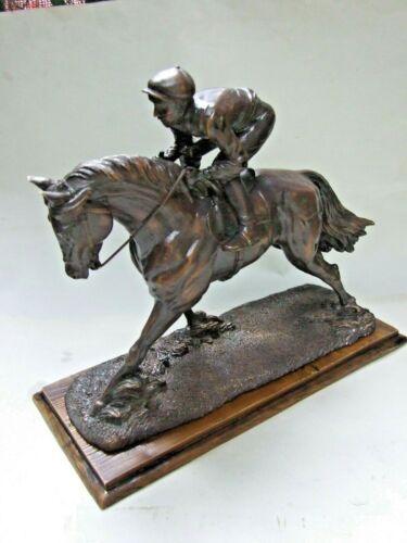 Vintage Bronze Statue Sculpture Horse Jackey Wood Base Decor Estate Find VGC