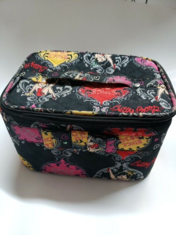 Betty Boop Since 1930 Cosmetic Makeup Bag Black Zippered with Mirror