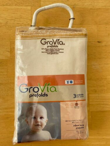 GroVia Organic Cotton & Bamboo Prefold - Infant Size 3 - Package of 3 New