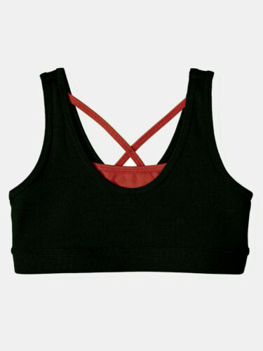 NEW Girls Avia Black & Red Ribbed Performance Sports Bra Size 2XL 18