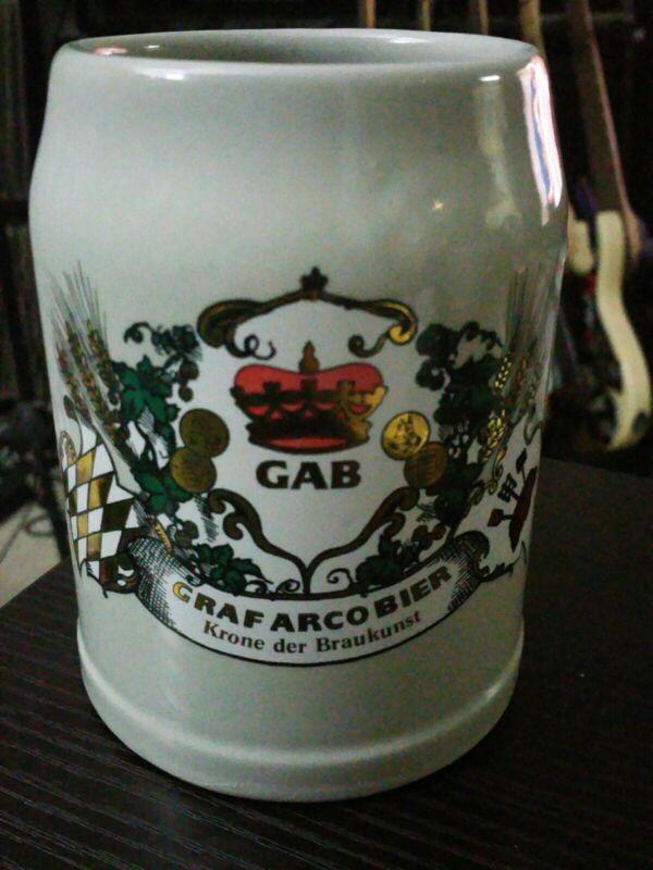 GAB Graf Arco Bier 0.5 L German Stoneware Beer Mug, Stein, Bier Glass, Germany