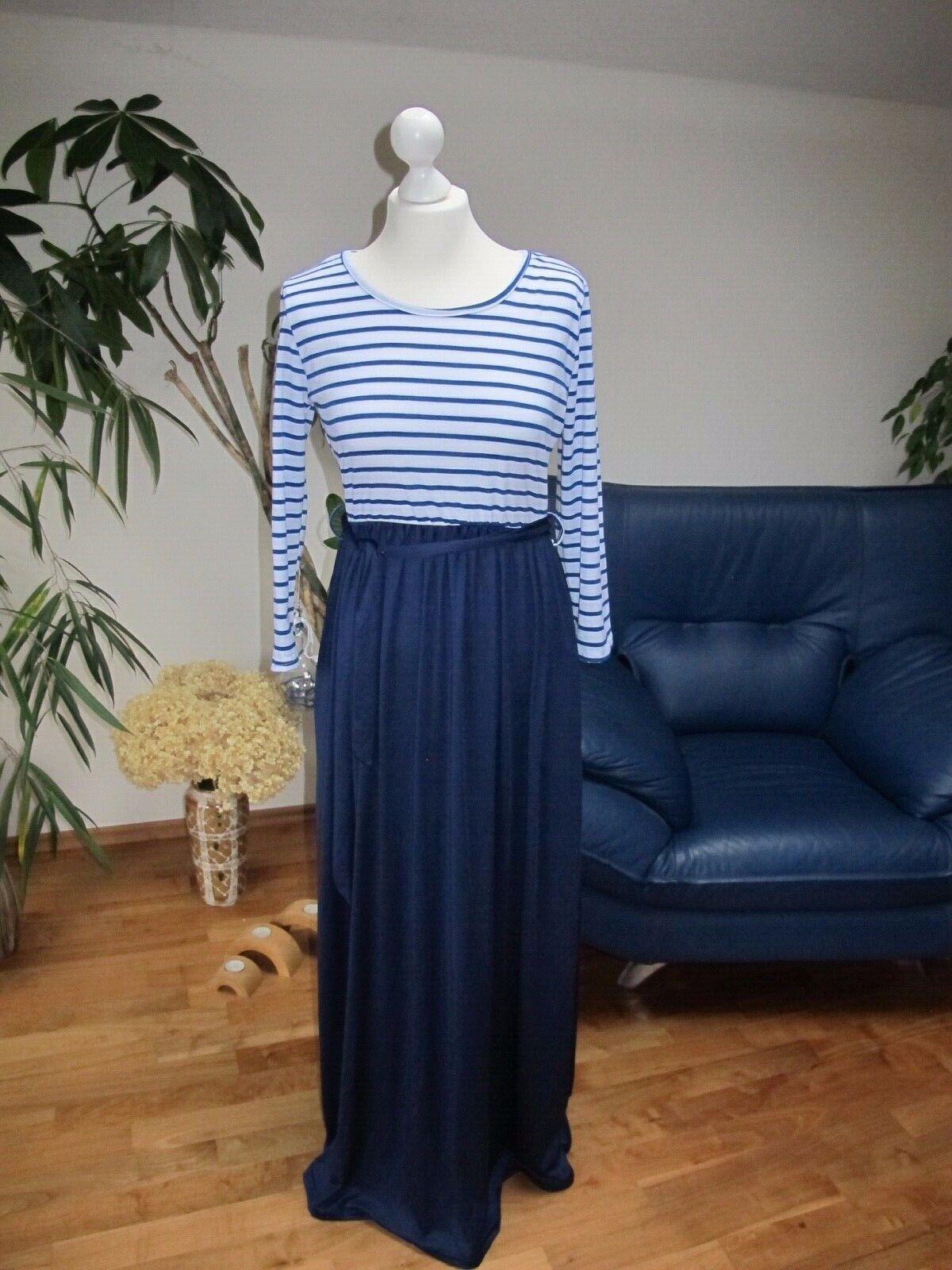 chic Kleid lang blau weiß gestreift NEU Gr. 36 /38 mit Gürtel Modern