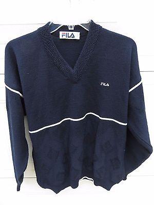 vtg 70s 80s FILA Sport Navy V-Neck Ski Sweater European Italy Fashion hip hop