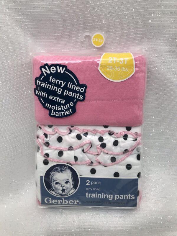 Gerber 2pk Baby Girl Toddler Training Pants Underwear Pink Dots Ruffles SZ 2T 3T