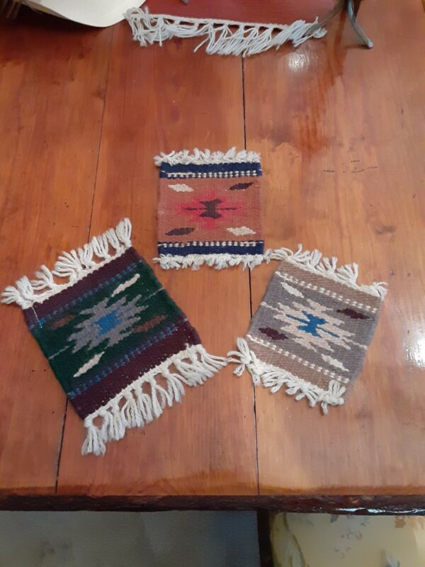 Southwest Wool 6 x 6  chimayo Zapotec green,red tan and rust western decor