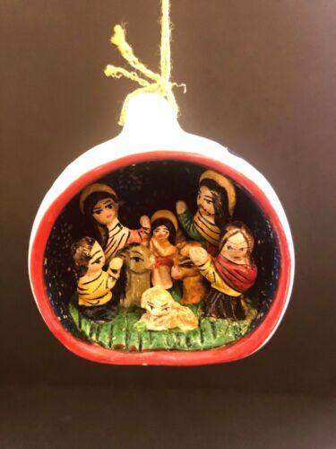 Vintage Nativity Scene Hand Carved / Painted Mini Christmas Ornament Made n Peru