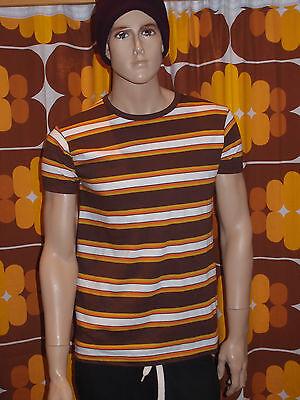 60's Mens Fashion (mens new 60's/70's vintage retro mod style brown orange white striped t)