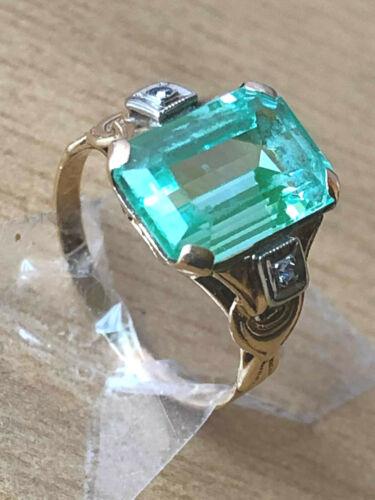 ANTIQUE ART DECO OSTBY BARTON 10K GOLD BLUE GREEN AQUA SPINEL DIAMOND RING