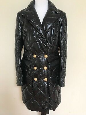 NWT Balmain Black Double Breasted Button Long Quilted Nylon Coat 44 US 12 $3505 Double Breasted Nylon Coat